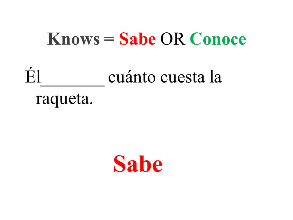 Él_______ cuánto cuesta la raqueta. Knows = Sabe OR Conoce Sabe