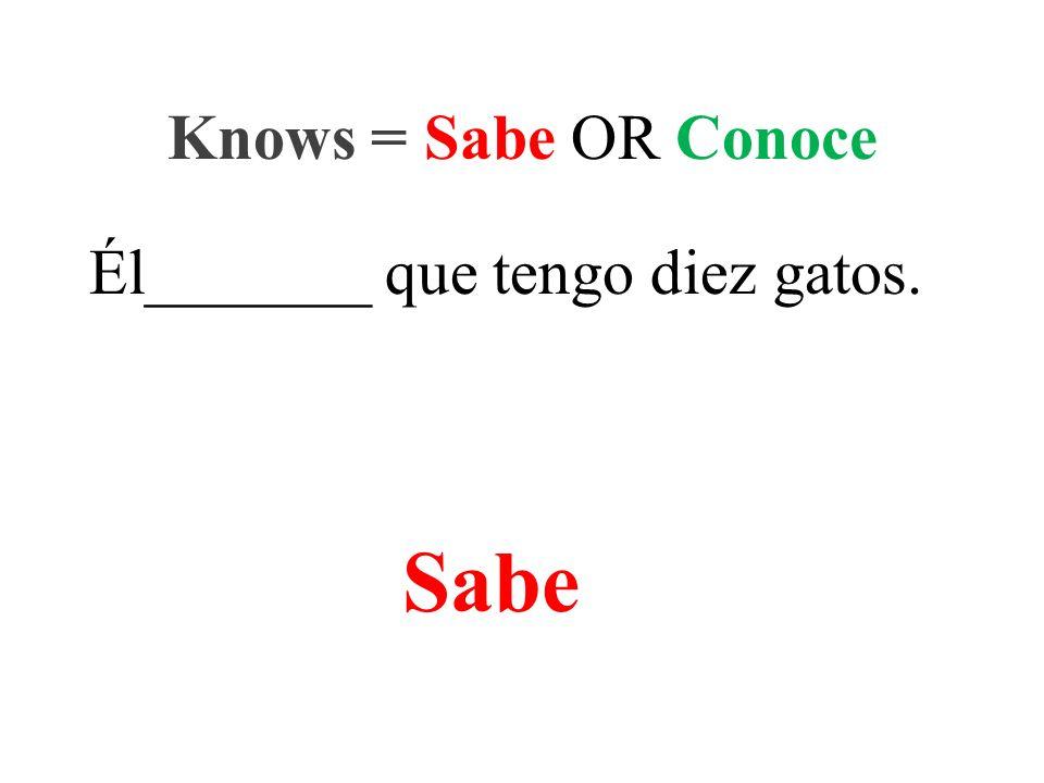 Él_______ que tengo diez gatos. Knows = Sabe OR Conoce Sabe