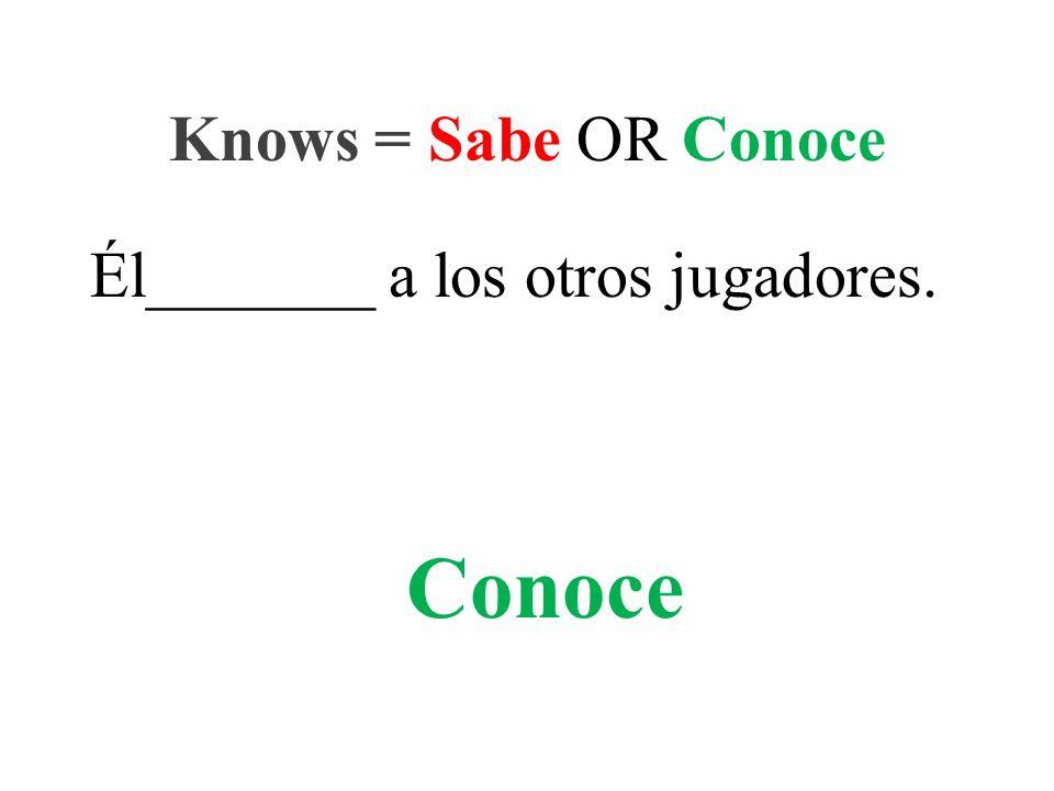 Él_______ a los otros jugadores. Knows = Sabe OR Conoce Conoce
