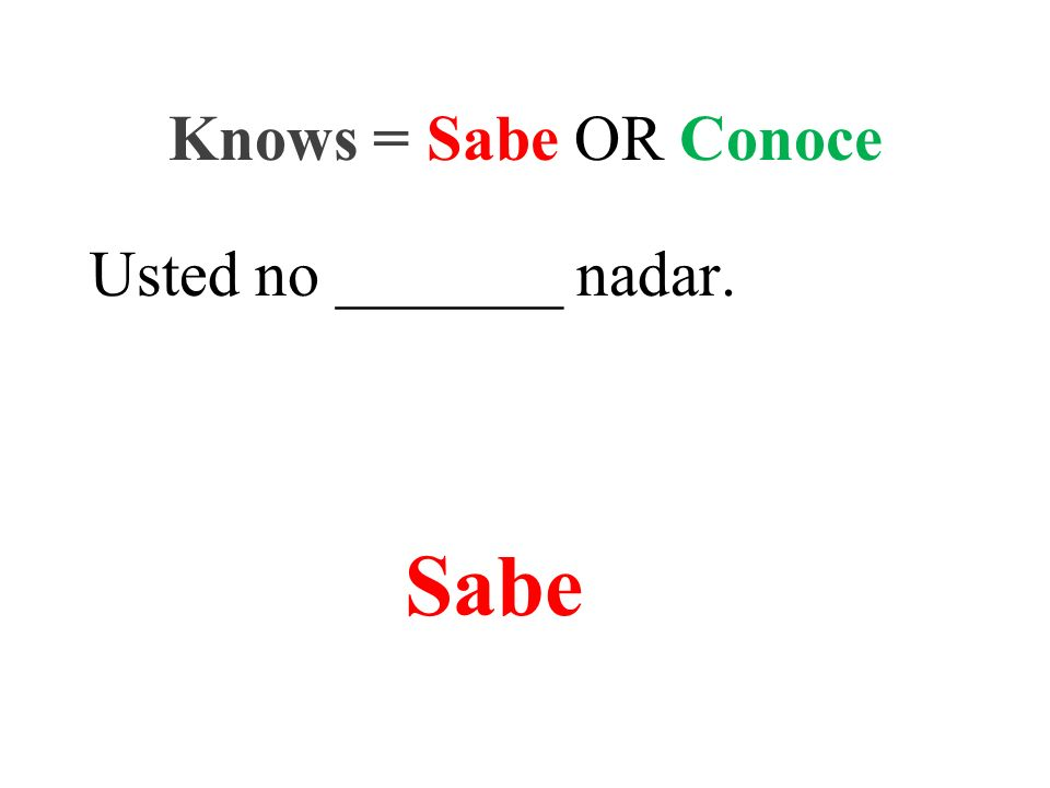 Usted no _______ nadar. Knows = Sabe OR Conoce Sabe
