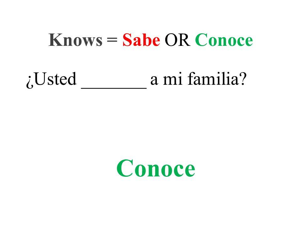 ¿Usted _______ a mi familia Knows = Sabe OR Conoce Conoce