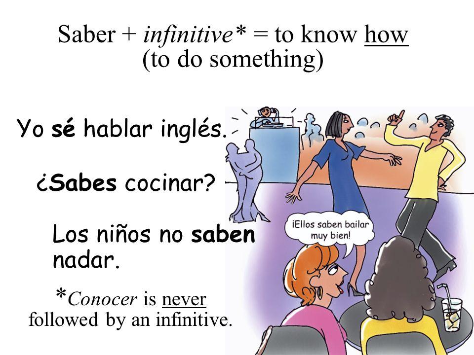 Saber is often followed by a question word.* ¿Sabes dónde está la oficina.
