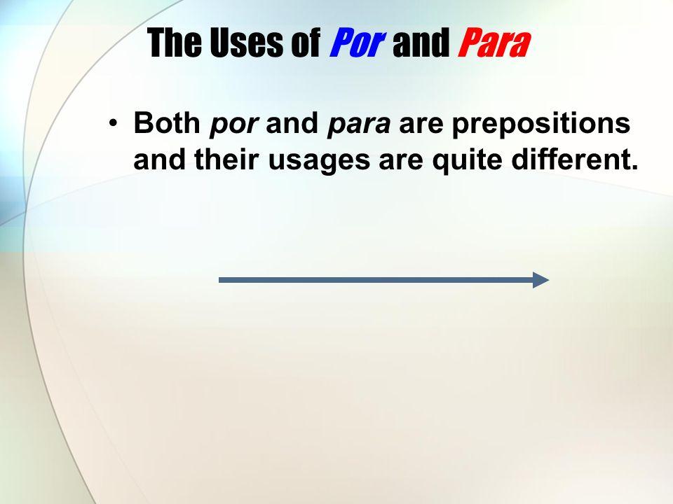 Use por to indicate: Length of time or distance Estuvieron discutiendo por una hora.