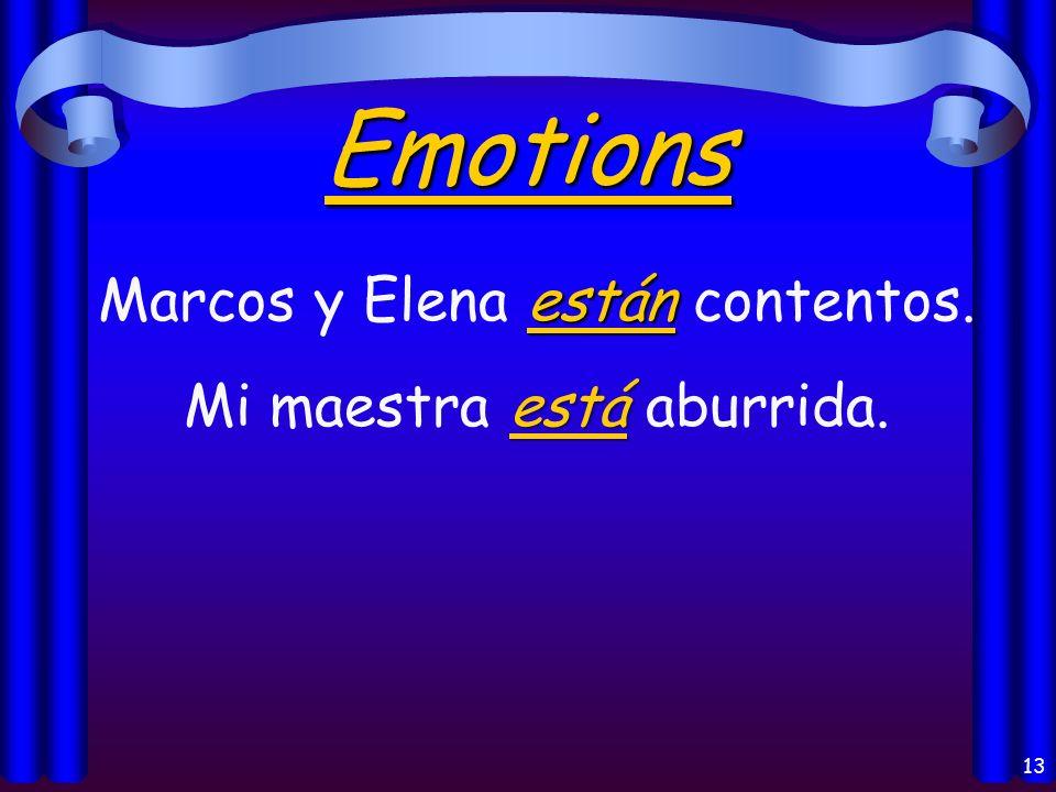 12 Los usos del verbo Estar: Emotions Location of a person or thing Feelings