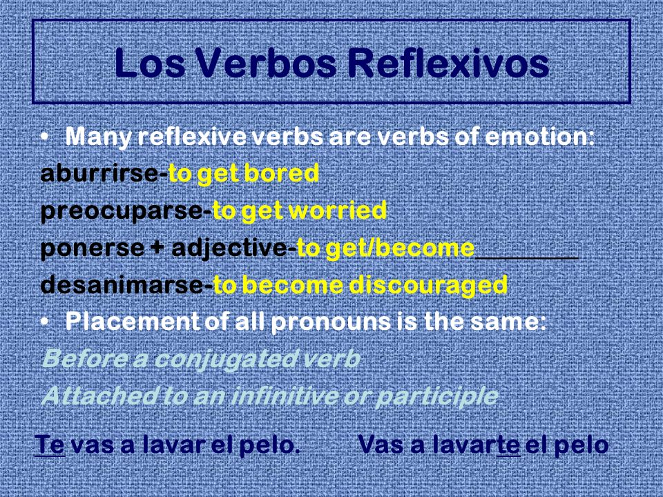 Many reflexive verbs are verbs of emotion: aburrirse-to get bored preocuparse-to get worried ponerse + adjective-to get/become________ desanimarse-to