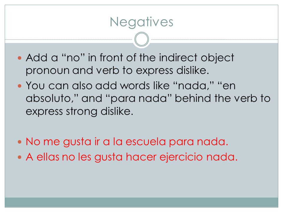 Negatives Add a no in front of the indirect object pronoun and verb to express dislike.
