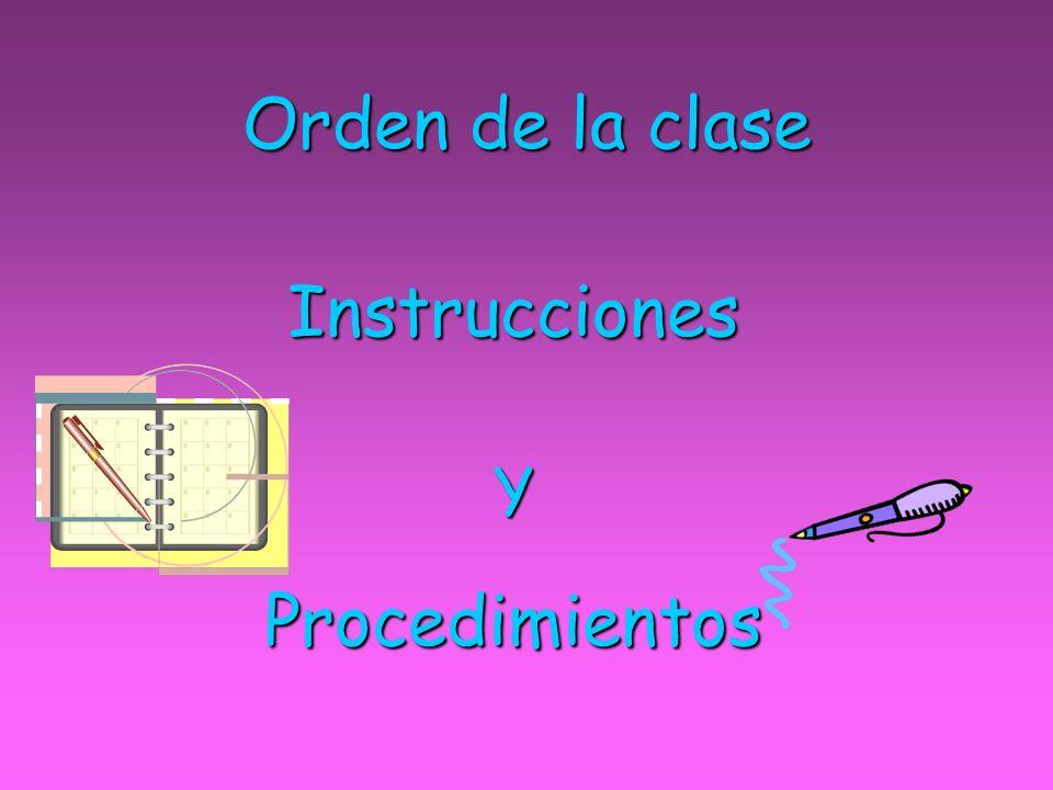 Orden de la clase InstruccionesYProcedimientos
