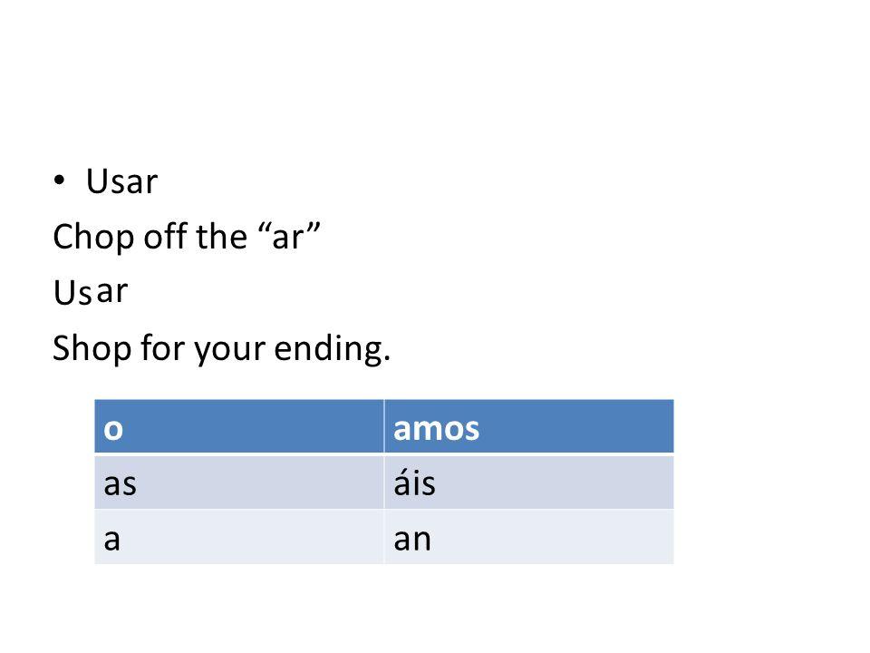 Drop your ending in Yo usNostotros us Tu usVosotros us El Ella us Usted Ellos Ellas us Ustedes o as a amos áis an