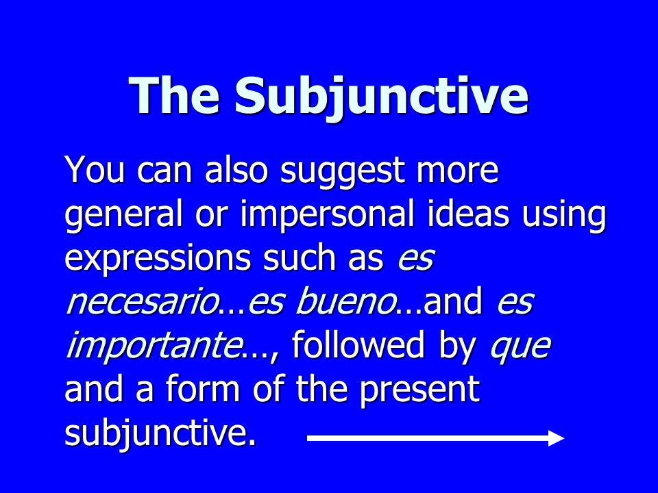 The Subjunctive El entrenador exige que los atletas estiren los músculos. The trainer demands that the athletes stretch their muscles.