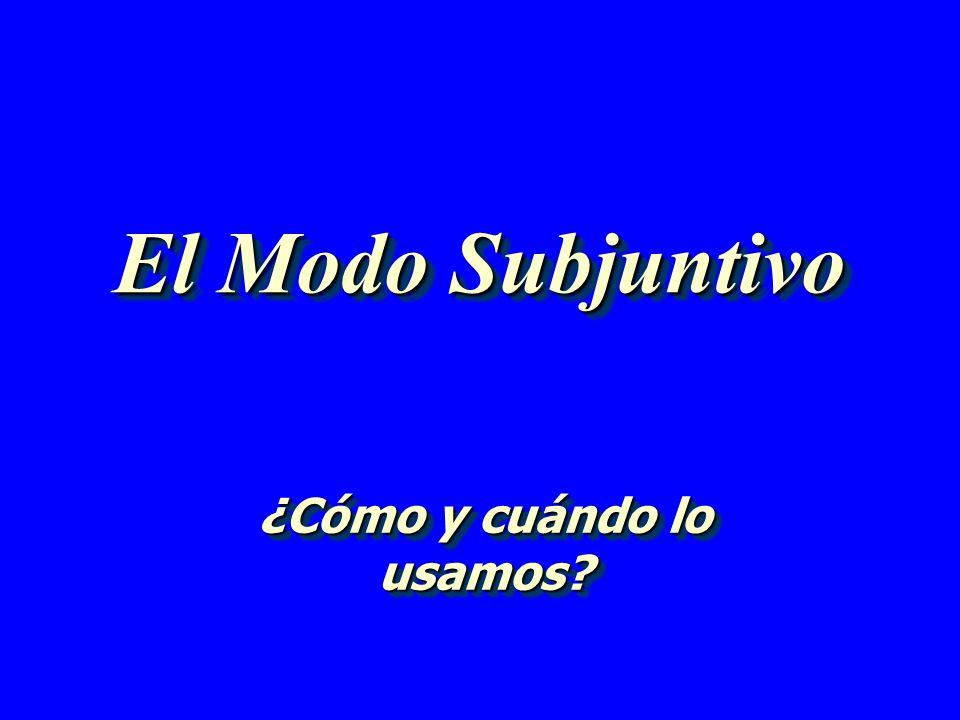 El Modo Subjuntivo ¿Cómo y cuándo lo usamos?