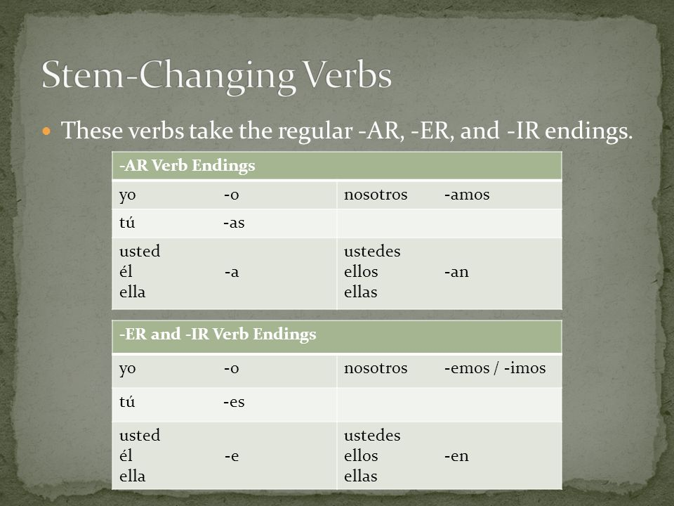 These verbs take the regular -AR, -ER, and -IR endings.