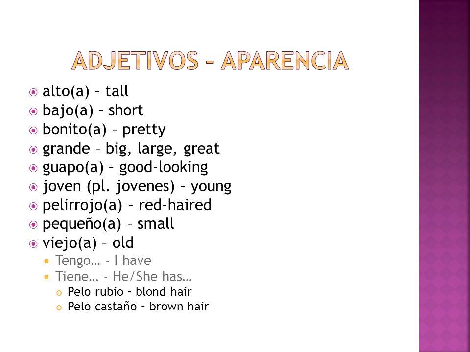 alto(a) – tall bajo(a) – short bonito(a) – pretty grande – big, large, great guapo(a) – good-looking joven (pl. jovenes) – young pelirrojo(a) – red-ha
