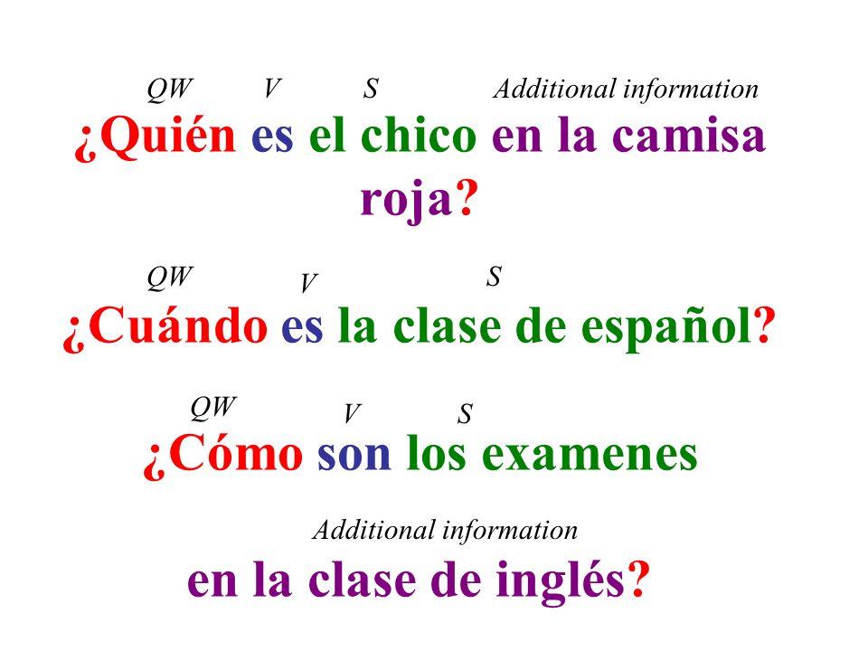 ¿Quién es el chico en la camisa roja? ¿Cuándo es la clase de español? ¿Cómo son los examenes en la clase de inglés? QWVSAdditional information QW V VS