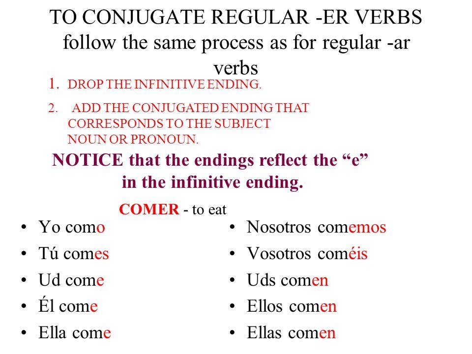 TO CONJUGATE REGULAR -ER VERBS follow the same process as for regular -ar verbs Yo como Tú comes Ud come Él come Ella come Nosotros comemos Vosotros c