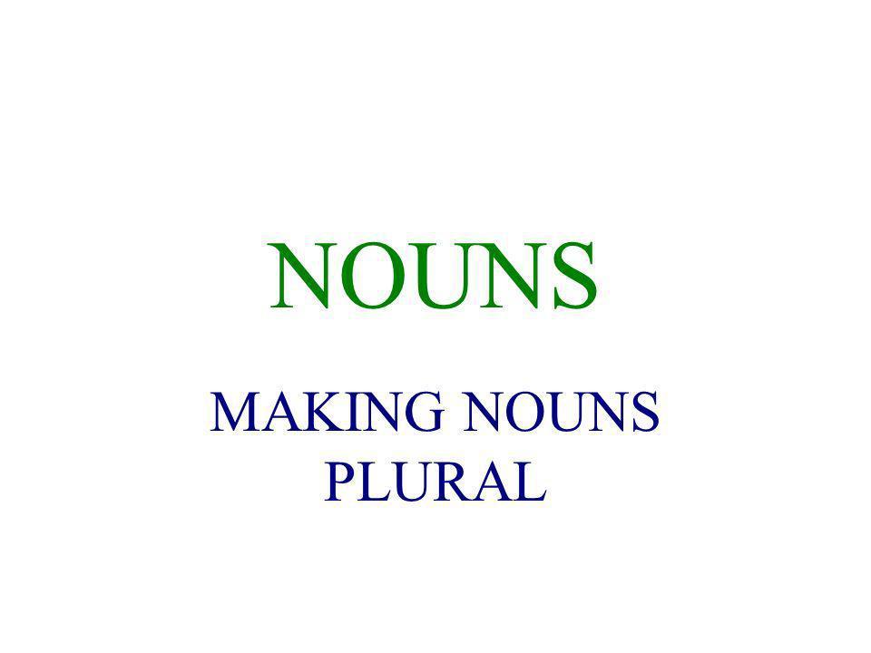 NOUNS MAKING NOUNS PLURAL
