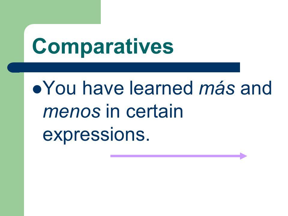 Comparatives Viejo(a) Ex: Mi padre es viejo.Él es mayor que mi madre.