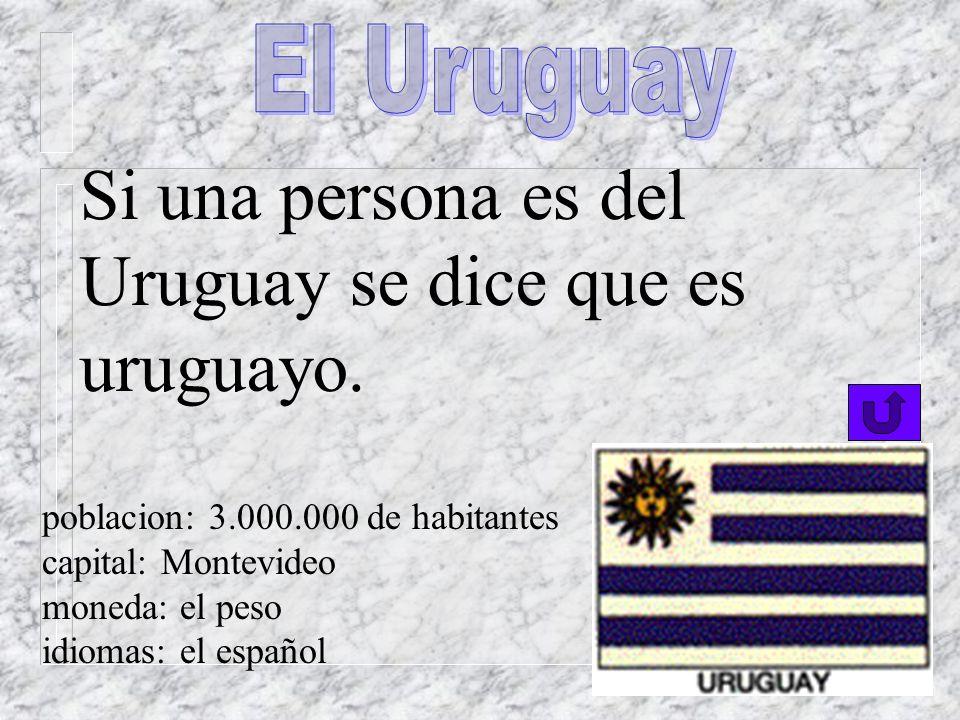 Si una persona es de la Argentina, se dice que es argentino. poblacion: 34.000.000 de habitantes capital: Buenos Aires moneda: el peso idioma oficial: