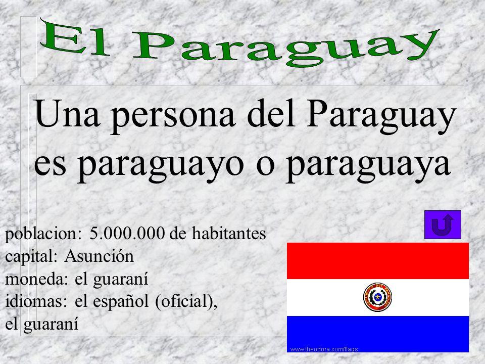 Si una persona es del Uruguay se dice que es uruguayo. poblacion: 3.000.000 de habitantes capital: Montevideo moneda: el peso idiomas: el español
