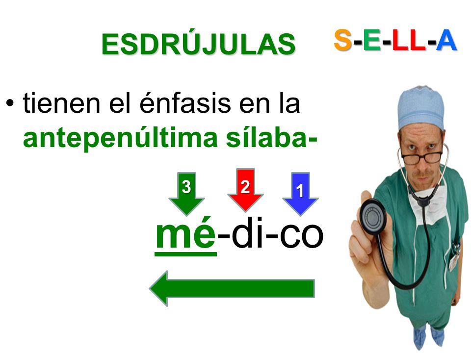 ESDRÚJULAS ESDRÚJULAS tienen el énfasis en la antepenúltima sílaba- mé-di-co S-E-LL-A 1 23