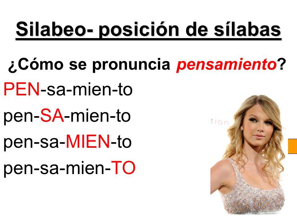 Silabeo- posición de sílabas ¿Cómo se pronuncia pensamiento? PEN-sa-mien-to pen-SA-mien-to pen-sa-MIEN-to pen-sa-mien-TO