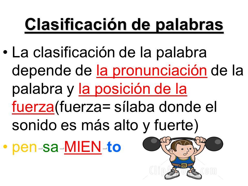 Clasificación de palabras La clasificación de la palabra depende de la pronunciación de la palabra y la posición de la fuerza(fuerza= sílaba donde el