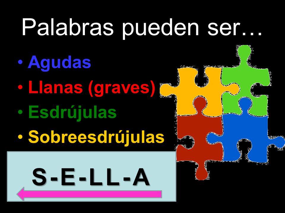 S- E- LL - A S- E- LL - A última sílaba penúltima sílaba antepenúltima sílaba antes de la antepenúltima sílaba