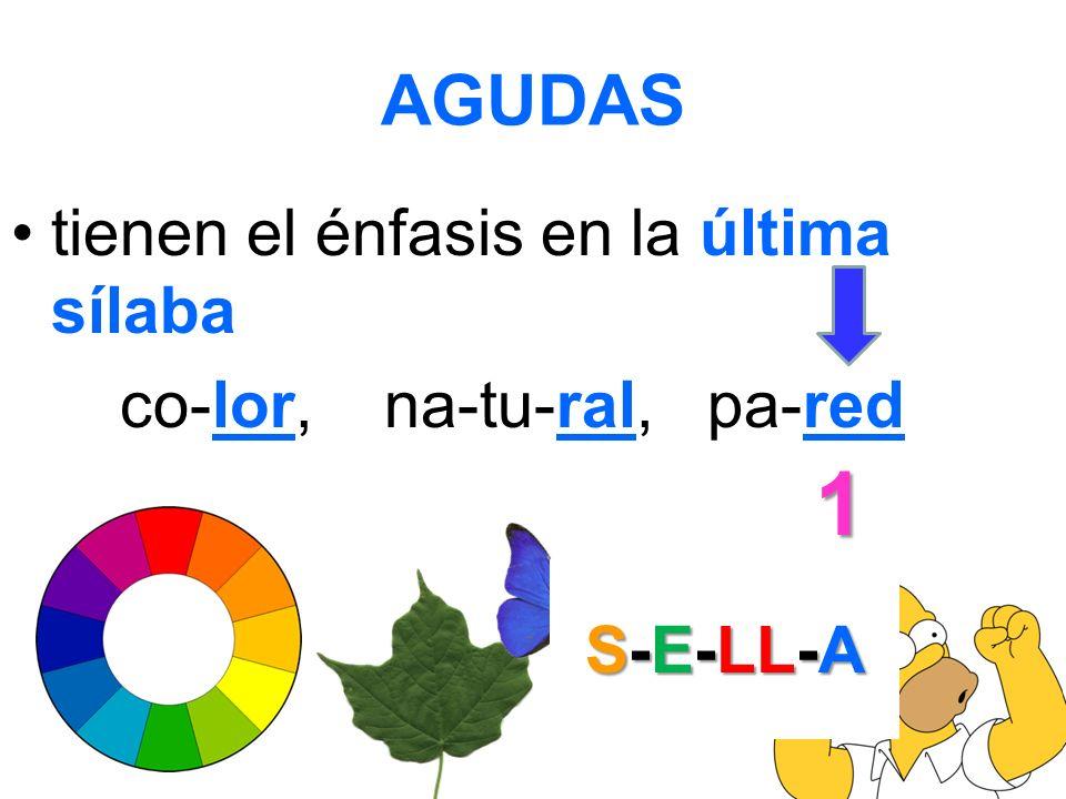 AGUDAS tienen el énfasis en la última sílaba co-lor, na-tu-ral, pa-red 1 S-E-LL-A