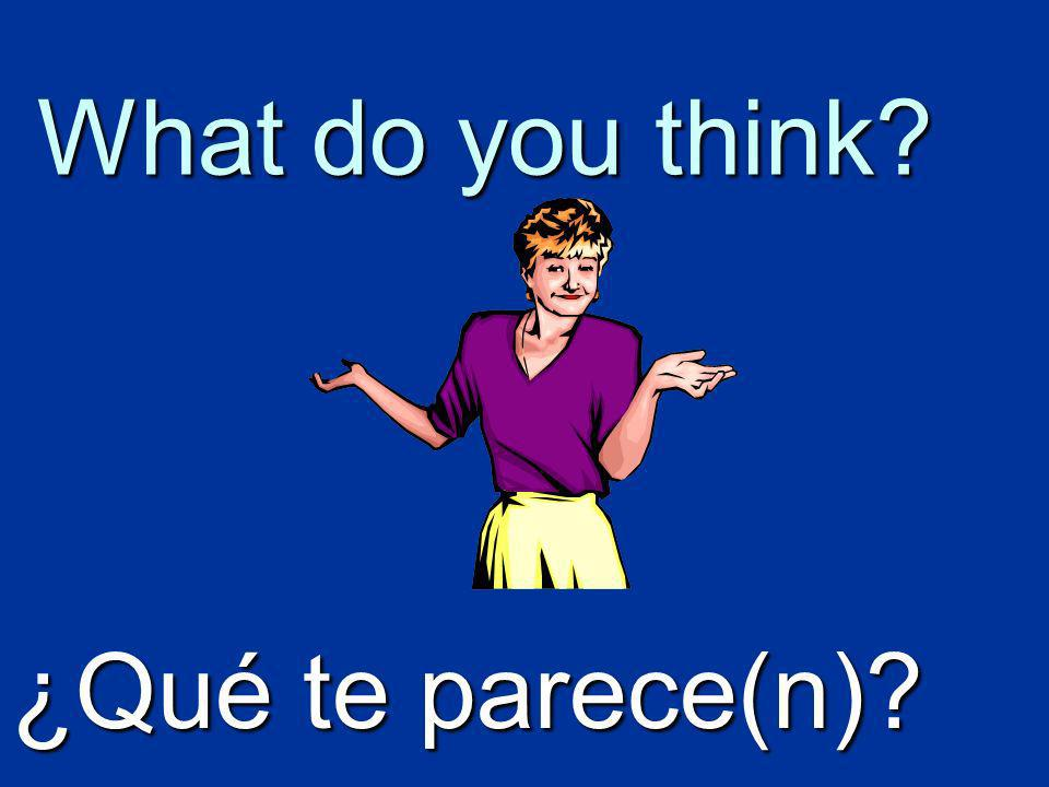 What do you think? ¿Qué te parece(n)?