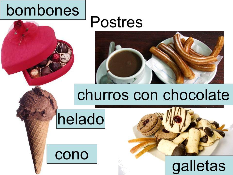 Postres churros con chocolate bombones galletas helado cono