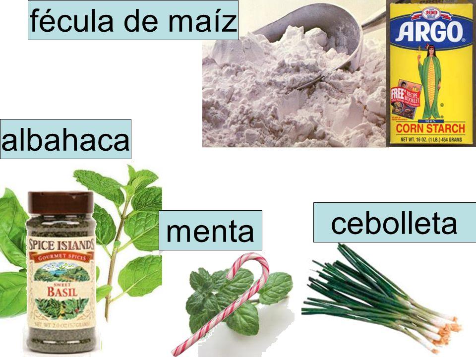 fécula de maíz albahaca menta cebolleta