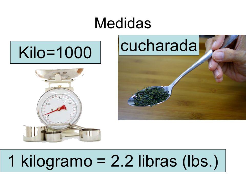 Medidas cucharada Kilo=1000 1 kilogramo = 2.2 libras (lbs.)
