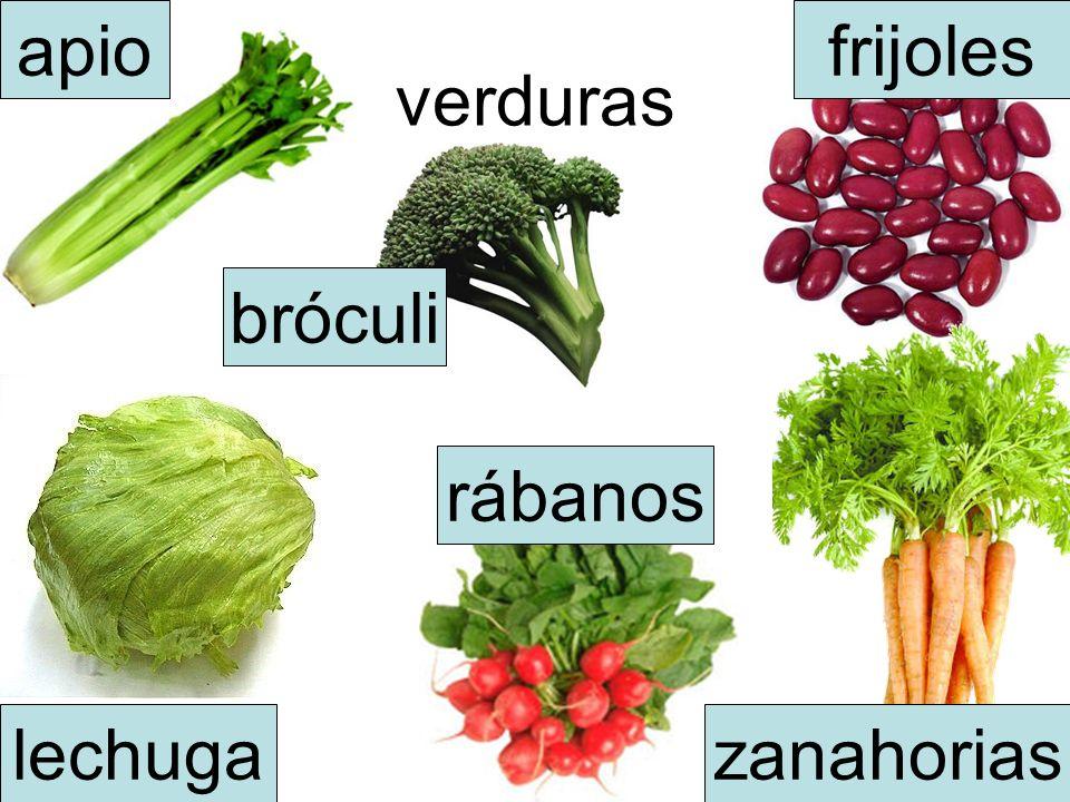 verduras apio lechuga bróculi frijoles rábanos zanahorias
