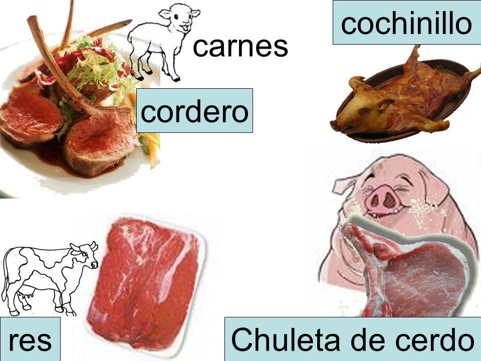 carnes Chuleta de cerdores cochinillo cordero
