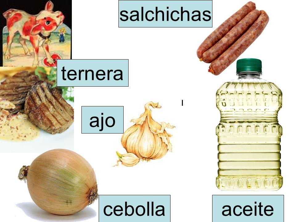 ternera salchichas cebolla ajo aceite