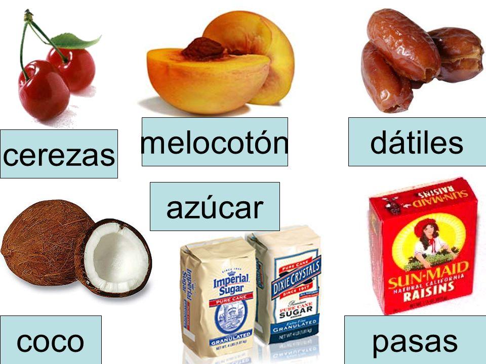 coco cerezas melocotóndátiles azúcar pasas