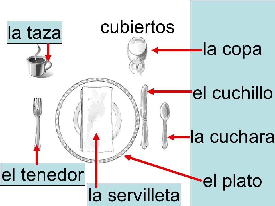 cubiertos la copa el cuchillo la cuchara el plato la servilleta el tenedor la taza
