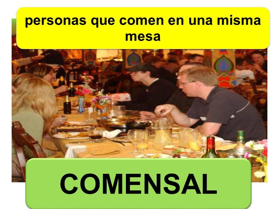 COMENSAL personas que comen en una misma mesa