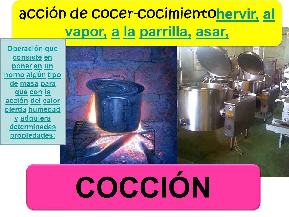 COCCIÓN acción de cocer-cocimiento hervir, al vapor, a la parrilla, asar, hervir,al vapor,alaparrilla,asar, acción de cocer-cocimiento hervir, al vapo