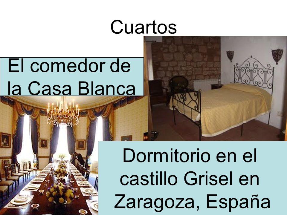 Cuartos Dormitorio en el castillo Grisel en Zaragoza, España El comedor de la Casa Blanca