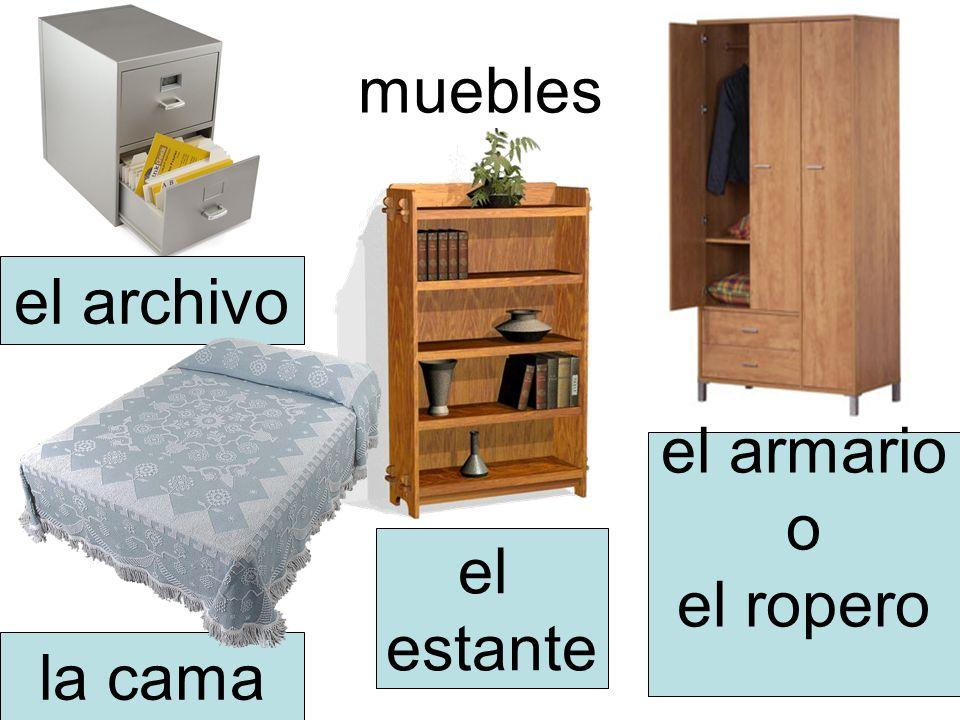 muebles el archivo la cama el armario o el ropero el estante