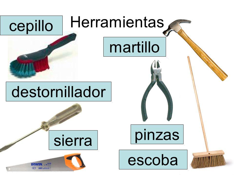 Herramientas cepillo destornillador sierra pinzas martillo escoba