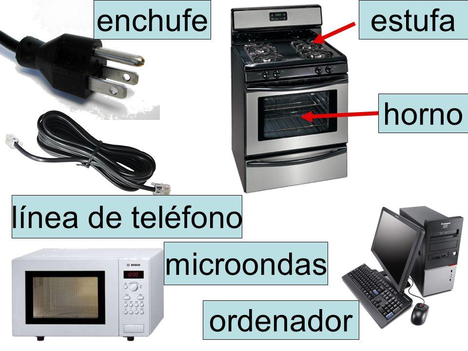 estufa horno ordenador microondas línea de teléfono enchufe