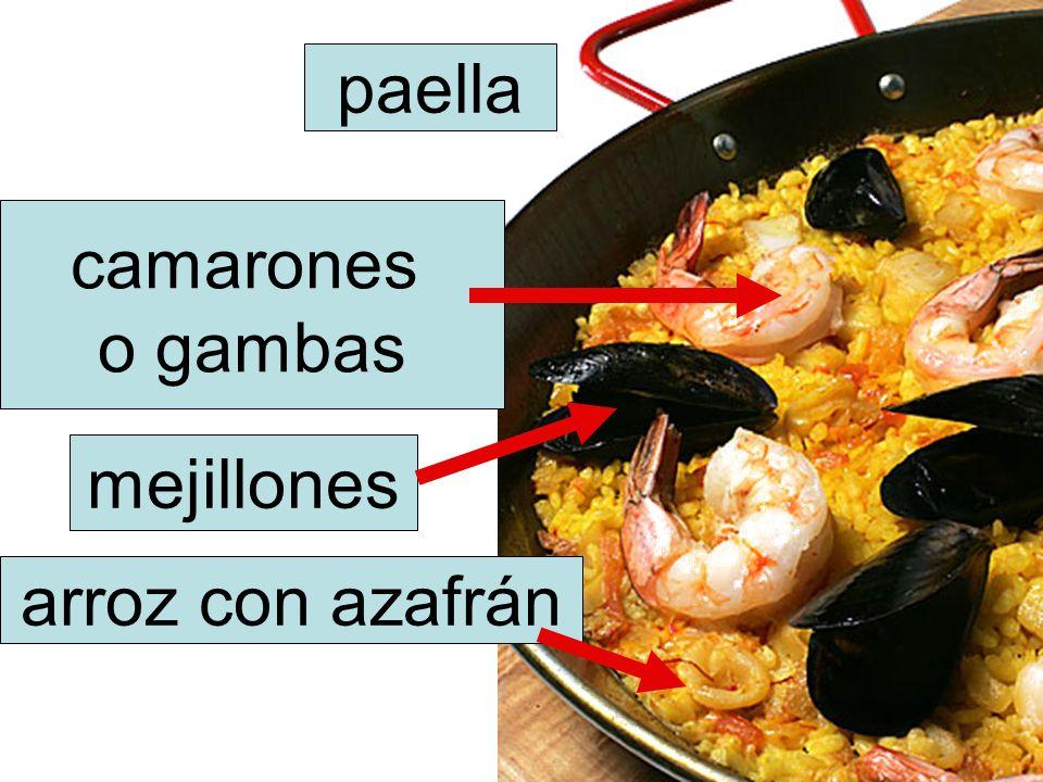 paella camarones o gambas mejillones arroz con azafrán