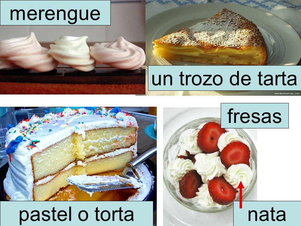 merengue un trozo de tarta pastel o torta fresas nata