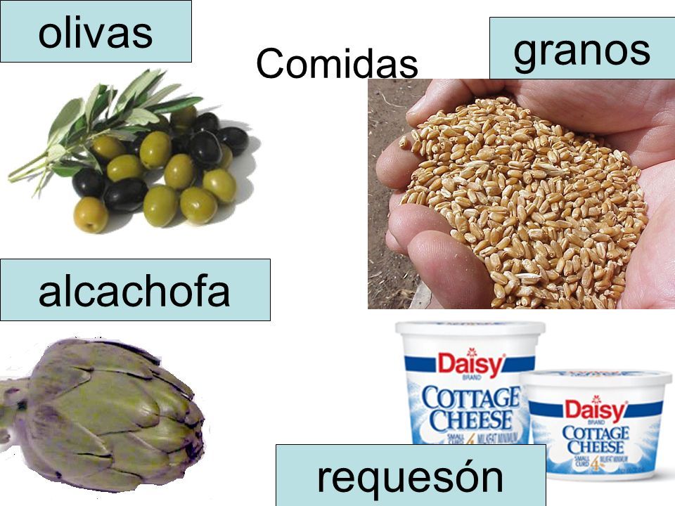 Comidas olivas alcachofa requesón granos