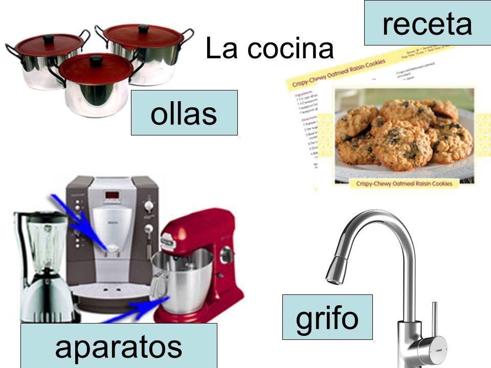 La cocina receta ollas aparatos grifo