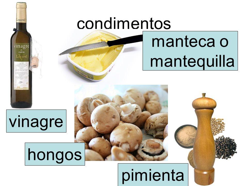 condimentos vinagre manteca o mantequilla hongos pimienta