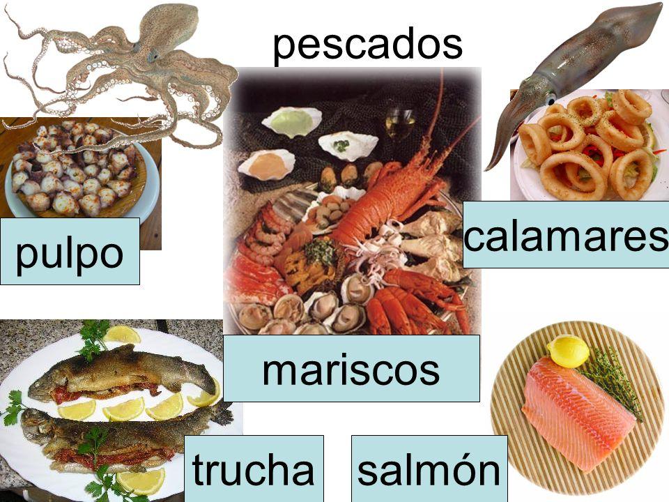 pescados truchasalmón pulpo calamares mariscos