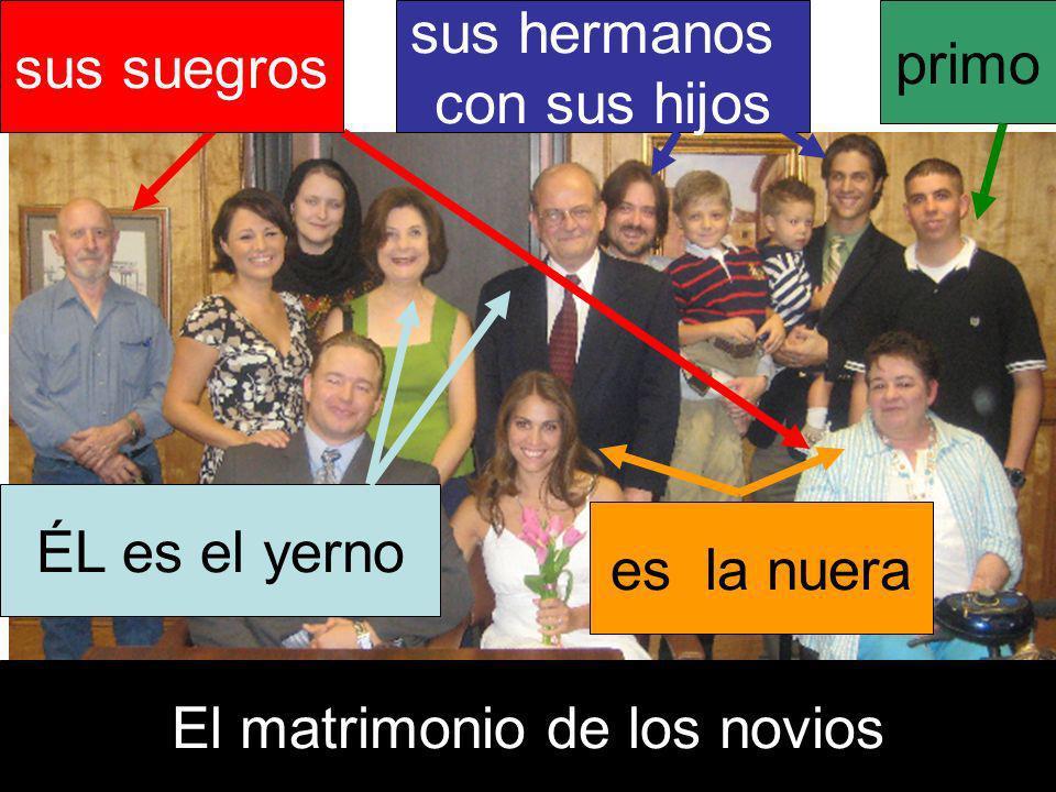 ÉL es el yerno es la nuera sus suegros El matrimonio de los novios sus hermanos con sus hijos primo