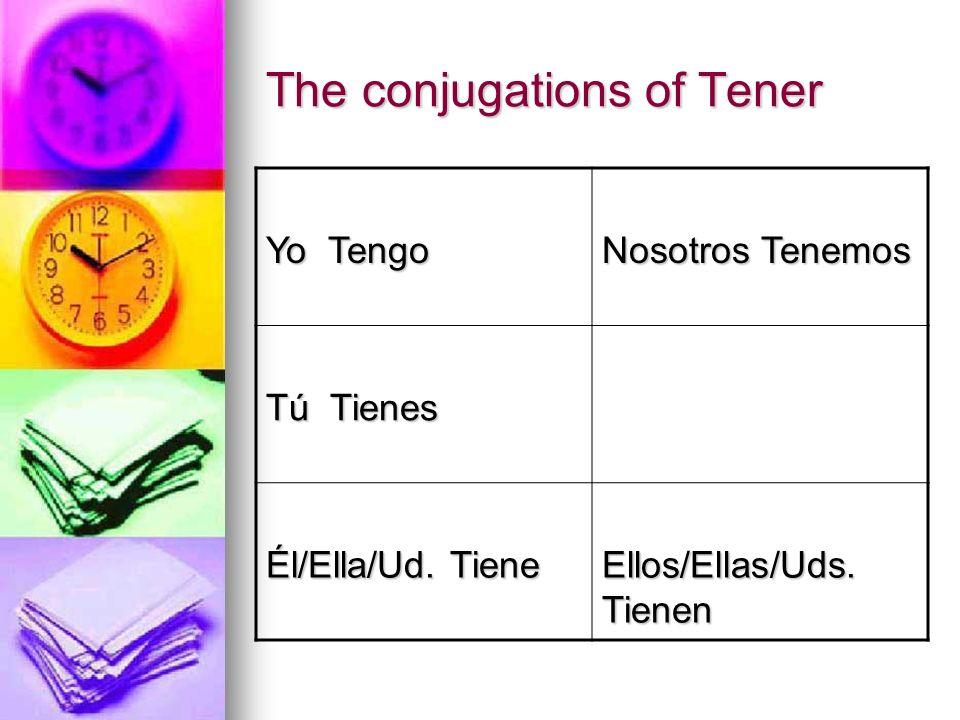 The conjugations of Tener Yo Tengo Nosotros Tenemos Tú Tienes Él/Ella/Ud. Tiene Ellos/Ellas/Uds. Tienen
